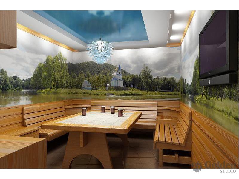 Комната отдыха в сауне. дизайн